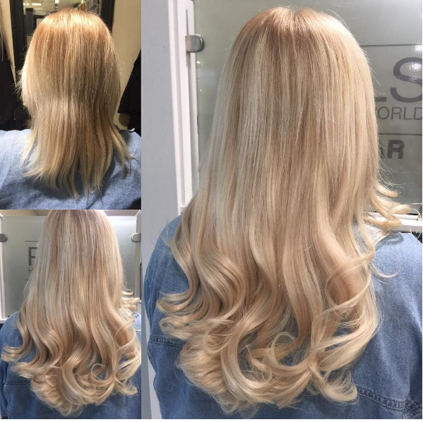 Human hair extensions pauls hair world 3 before and after of a phw beaded weave by salon manager chelsea using beauty works in colour 60a platinum blonde 2 rows with a cut and finish and a glam pmusecretfo Images