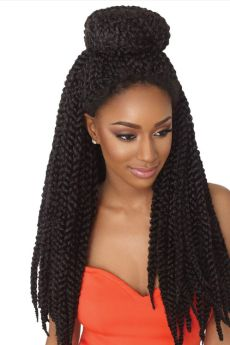 "X-Pressions 3D Twist Braids 20"" Synthetic Crochet Braids Updo"