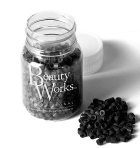 Beauty Works Aluminium Micro Rings 500 Pieces - Black