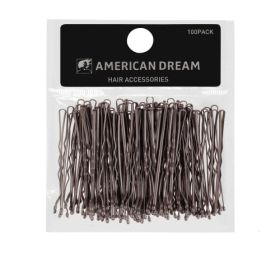 American Dream BROWN Wavy Hair Grips 2inch 100pcs