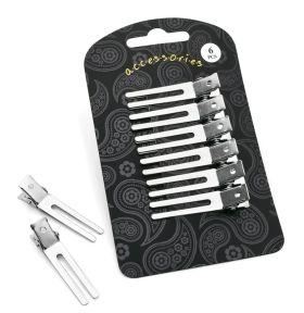 Six Piece Shiny Rhodium Colour Salon Hair Clip Set