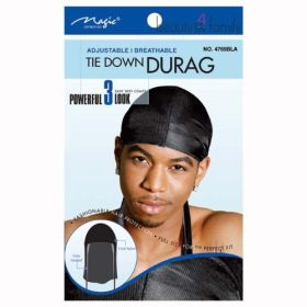 Magic Adjustable Tie Down Durag Black